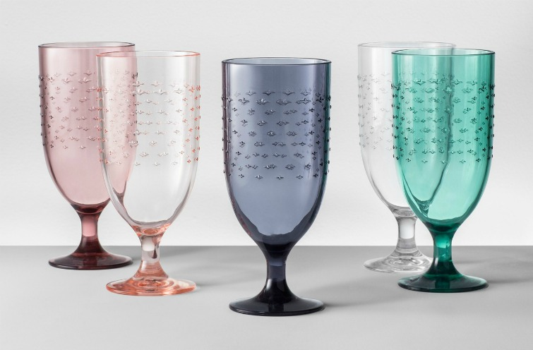 If you love vintage decor and housewares, hurry to Target to check out the new Opalhouse collection. These colorful plastic hobnail goblets are just a few of the fabulous vintage-style pieces you'll find at great prices! #opalhouse #targetstyle #vintagestyle #glassware #goblets #hobnail