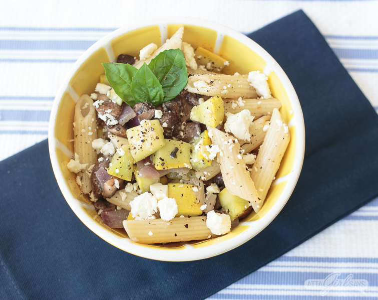 bowl of roasted vegetable pasta salad
