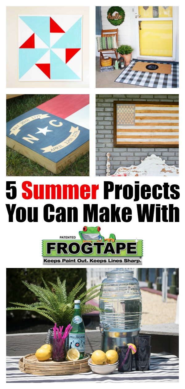FrogTape is a must-have DIY tool for all your summer painting projects. Learn how to use it to backyard games, a cool doormat, a nautical tablecloth, quilt block artwork and a rustic American flag. #ad #frogtape #painting #summerideas #outdoorprojects