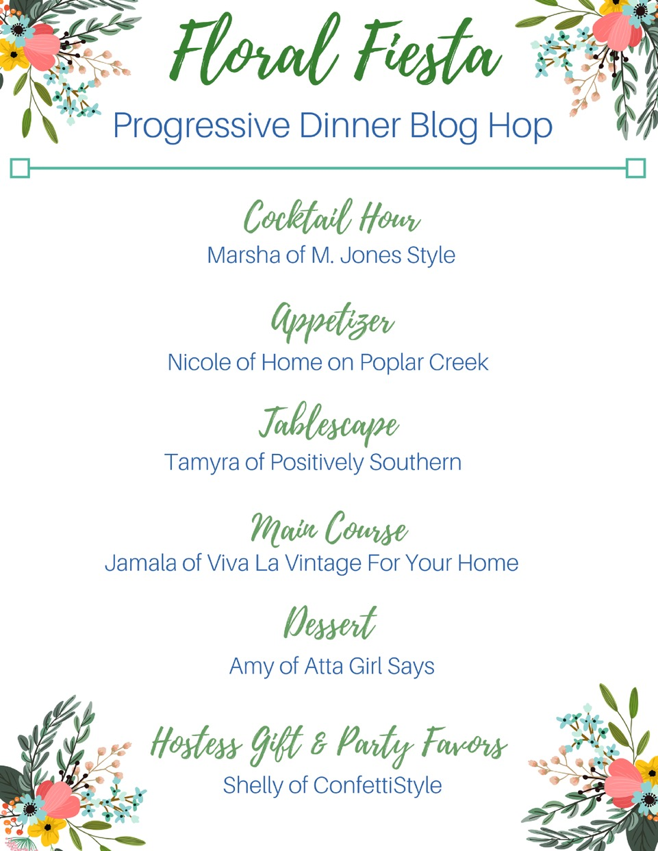 Join six bloggers for a (virtual) progressive dinner party. Visit each blog for cocktails, appetizer, entree and dessert recipes for our Spring Floral Fiesta. You'll also find ideas for tablescapes, hostess gifts and party favors. #SpringSoiree #SpringSoireeBlogHop #progressivedinner