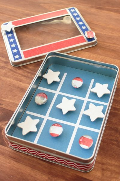 DIY Travel Games for Kids: Patriotic Tic Tac Toe