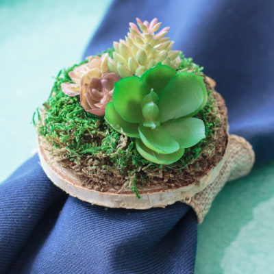 Miniature succulent garden atop a mossy wooden disk, used as a napkin ring.