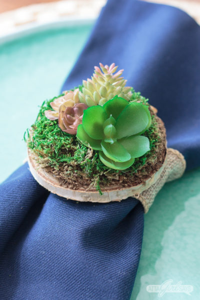 Succulent Napkins Rings Summer Craft