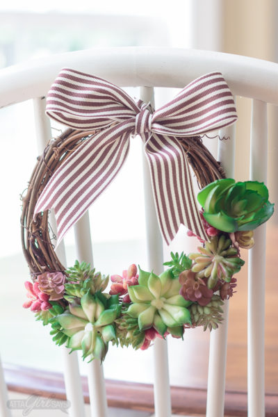 DIY Faux Succulent Grapevine Wreath