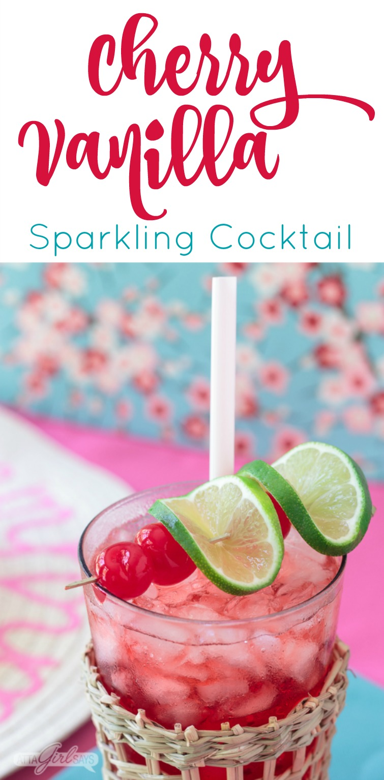 cherry vanilla sparkling cocktail