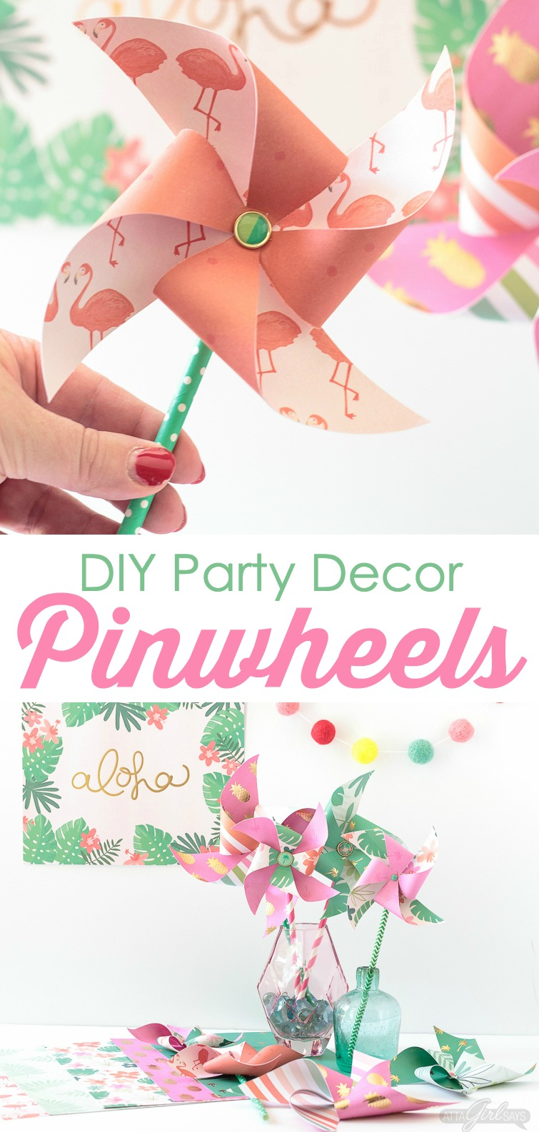 Need to add a festive touch to any occasion? Grab some pretty patterned scrapbook paper and I'll show you how to make pinwheels. They're so easy to make, even kids can help! Use your homemade pinwheels for party banners, cupcake toppers, centerpieces and more. #papercrafts #pinwheels #scrapbookpaper #papercrafting
