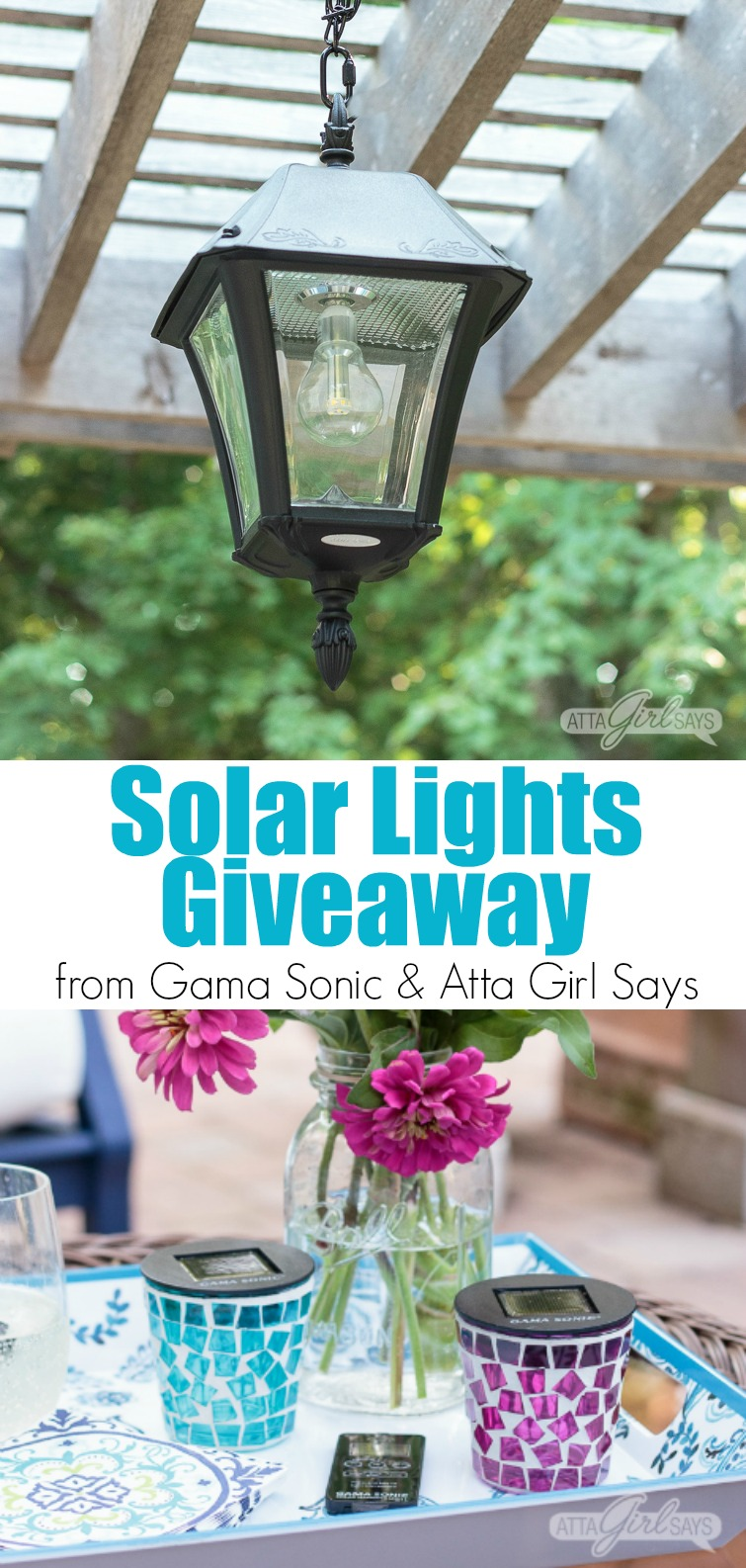 Enter to win an outdoor solar chandelier pendant light or a solar tealight candle from Gama Sonic and AttaGirlSays.com #ad #giveaway #win #solarlights #outdoorlights