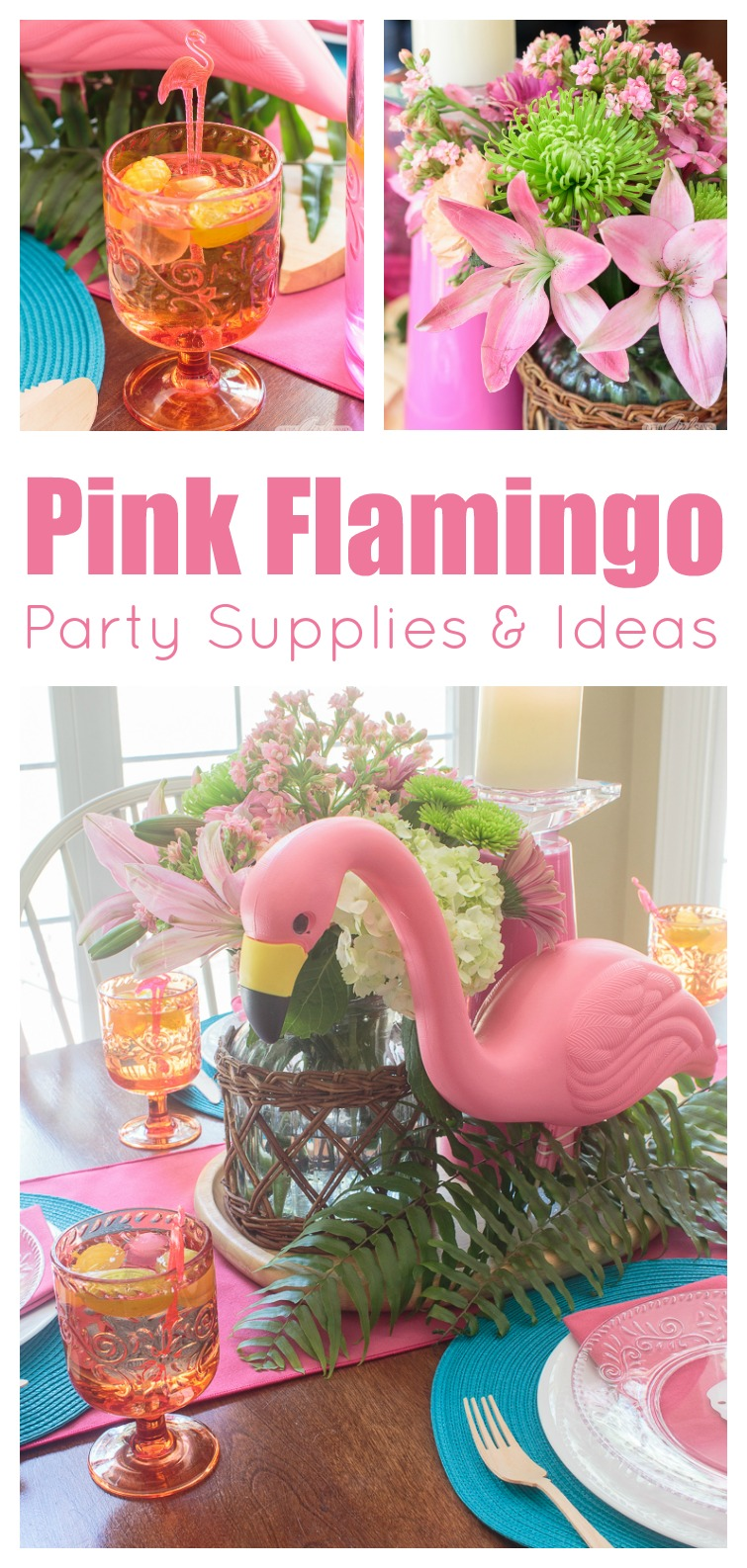 Collage photo showing colorful melamine dishes, pink and aqua table linens and flamingo party decor.