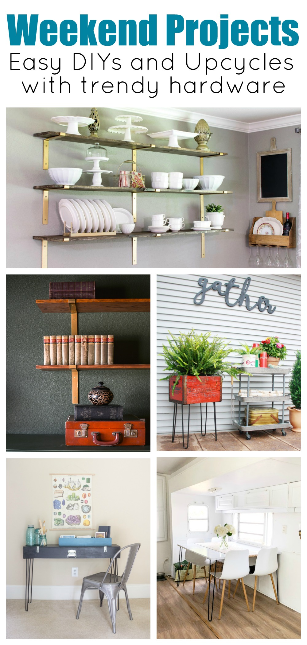 Collage photo showing a dining room shelves filled with white dishes, open bookshelves on a moody green wall, an outdoor space with a hairpin leg planter and rolling cart, hairpin leg desk and a camper dining space with a hairpin leg table.