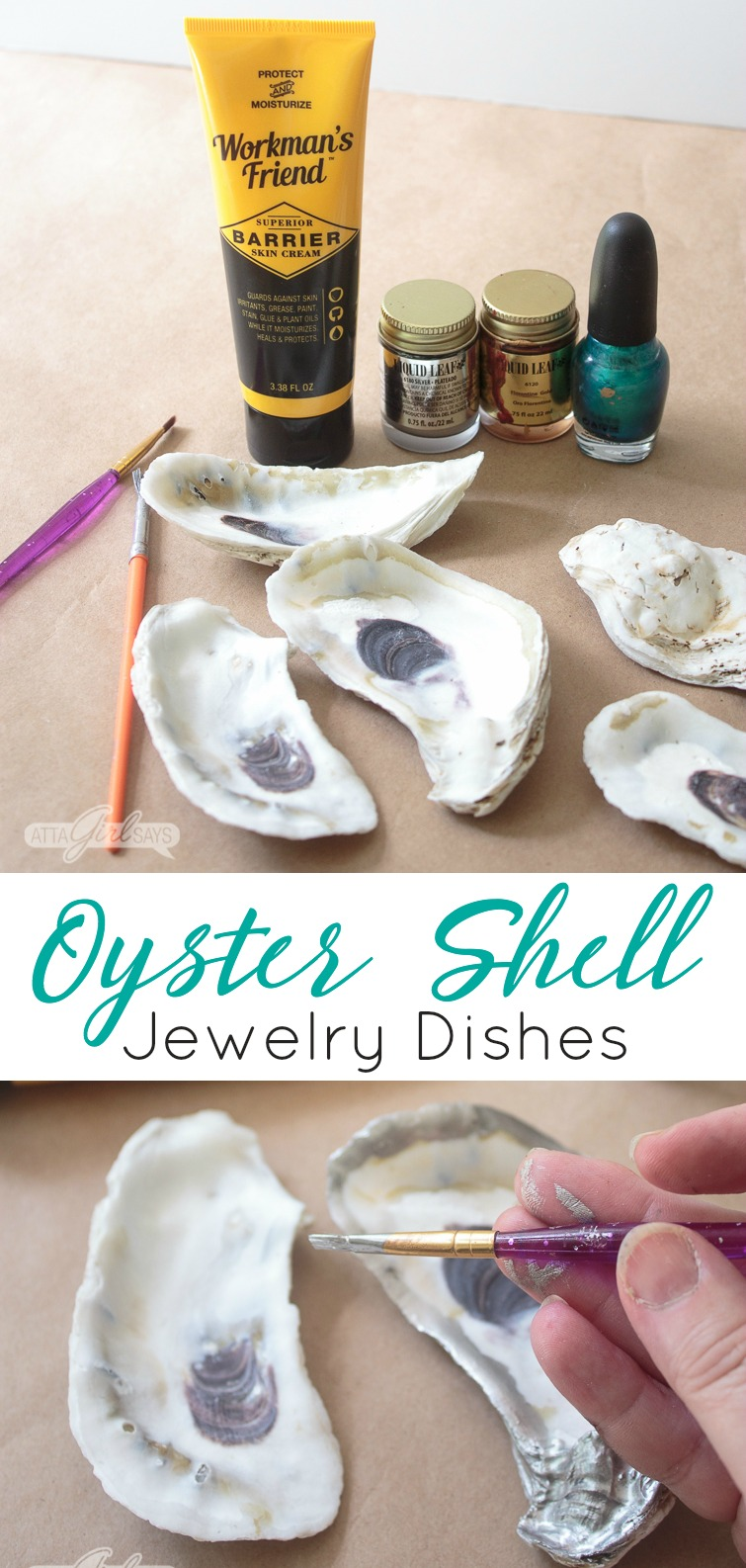 collage photo showing supplies needed to make this oyster shell craft jewelry dishes: liquid leaf in gold and silver, Workman's Friend Barrier Skin Cream, oyster shells, fingernail polish and paintbrushes