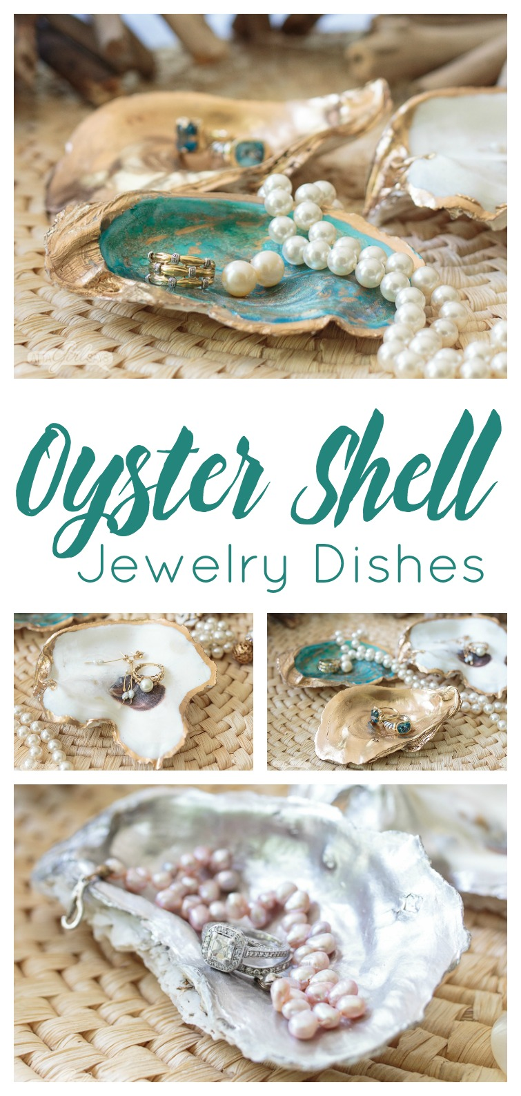 collage photo showing oyster shells turned into DIY jewelry dishes with pearl bracelets, necklaces, earrings and rings resting in the dishes