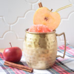frozen cinnamon apple cider cocktail slushie in a gold moscow mule mug, garnished with an apple slice, cinnamon stick and a gold metal straw, sitting on a red, green, black and white plaid napkin