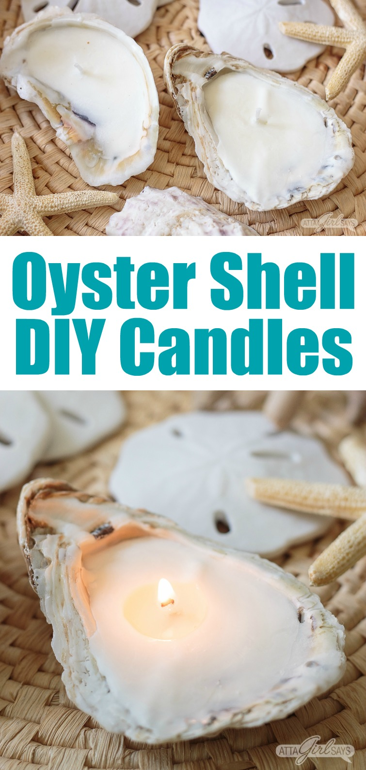 collage photo, labeled oyster shell DIY candles, showing a grouping of oyster shell candles on a woven seagrass mat with sand dollars and starfish in the background
