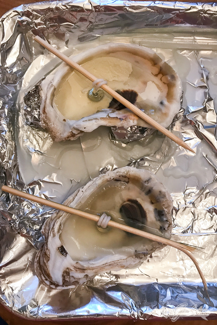 Oyster shells candles being made