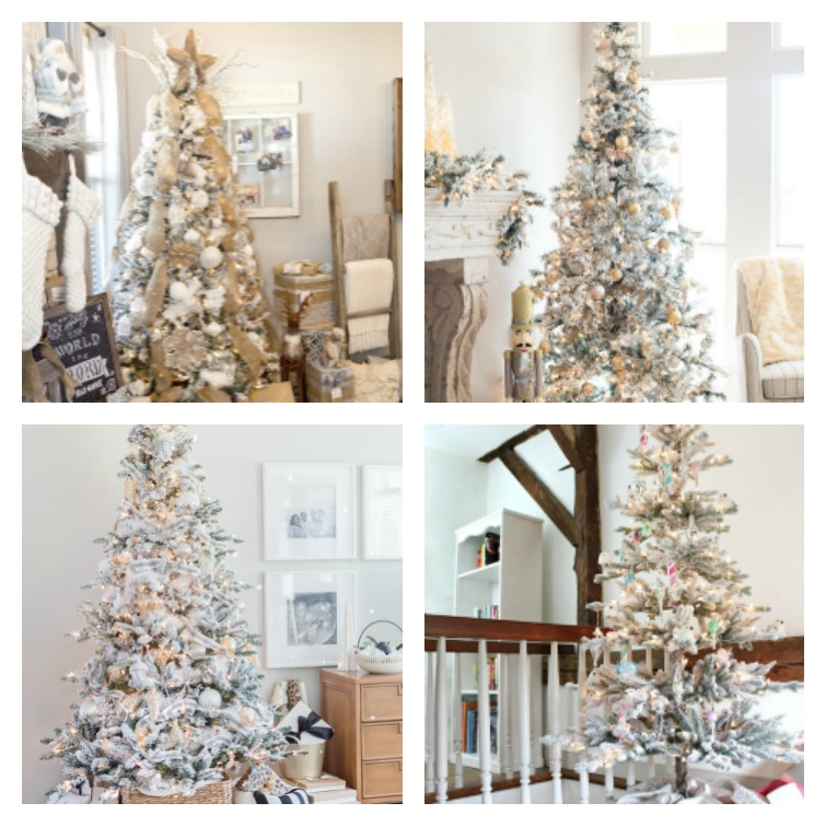 Four Elegant Flocked Christmas Trees