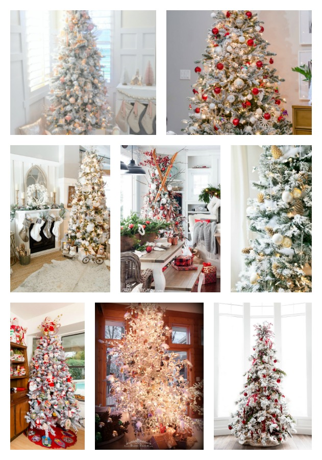 Collage showing 10 different decorated flocked Christmas Trees