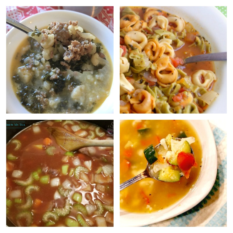 collage picture of four bowls of Weight Watchers soup recipes