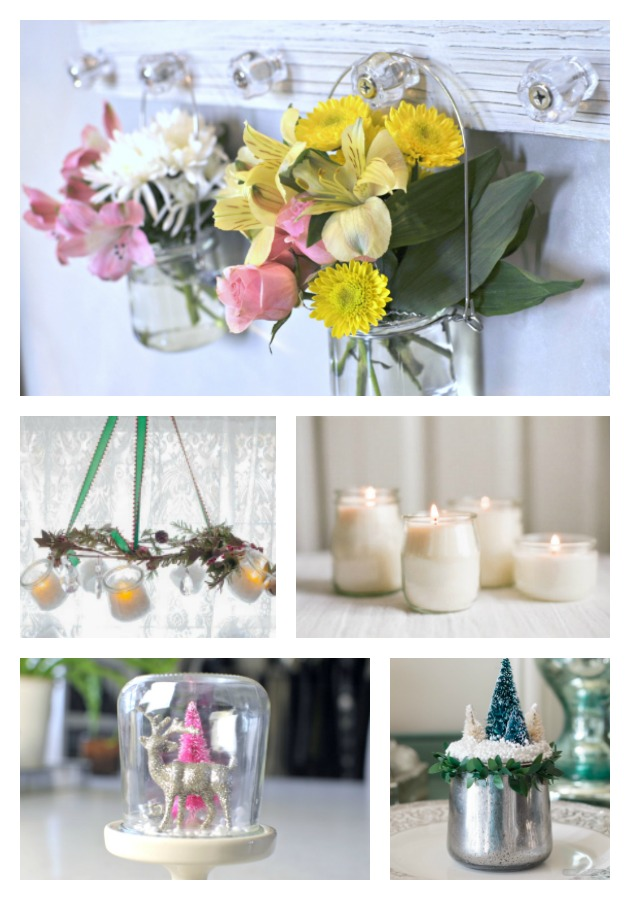 collage showing beautiful DIY crafts you can make with a Oui yogurt jar