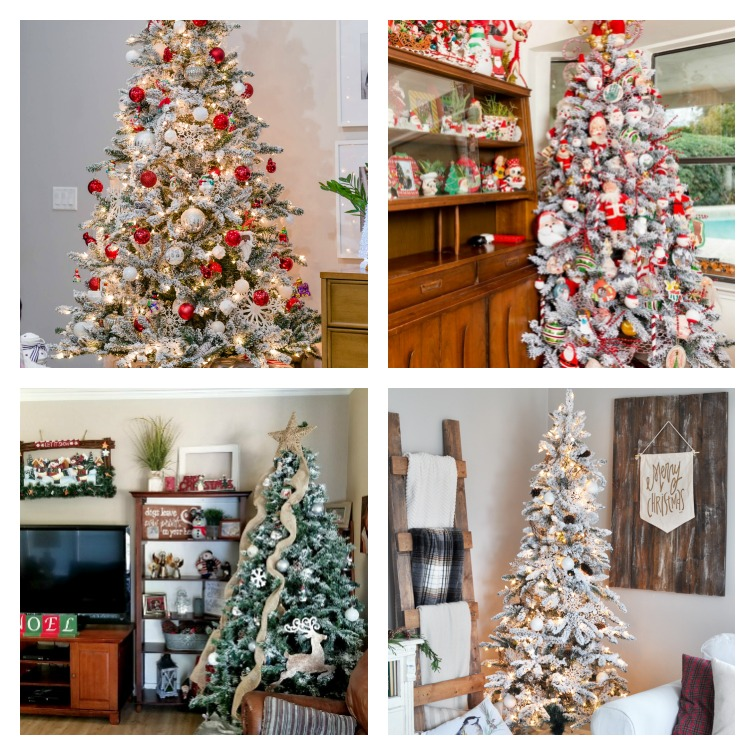 Traditional Flocked Christmas Tree decorating ideas