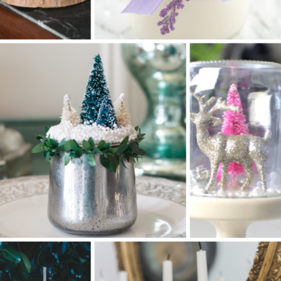 Collage featuring craft projects made from recycled Oui yogurt jars