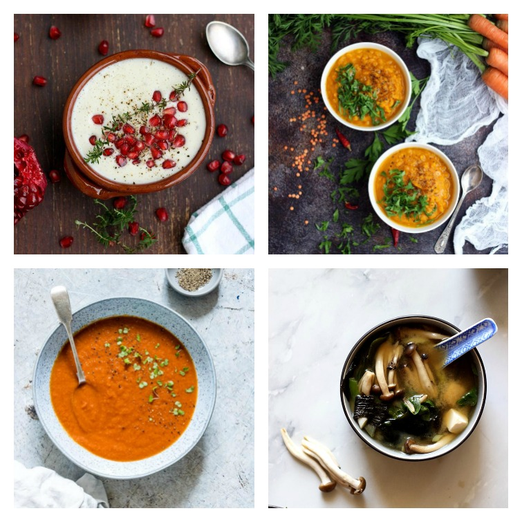 photo of four bowls of soup