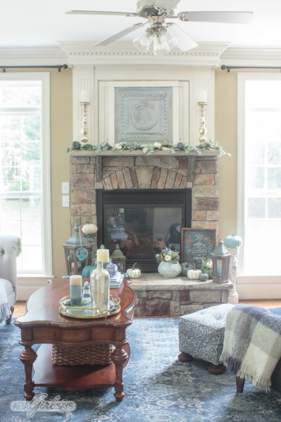 Blue & Aqua Fall Mantel & Family Room Tour