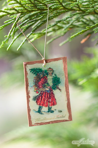 Vintage Postcard Shrinky Dinks Christmas Ornaments