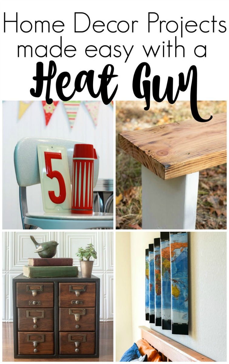 collage photo of 4 DIY projects using a heat gun