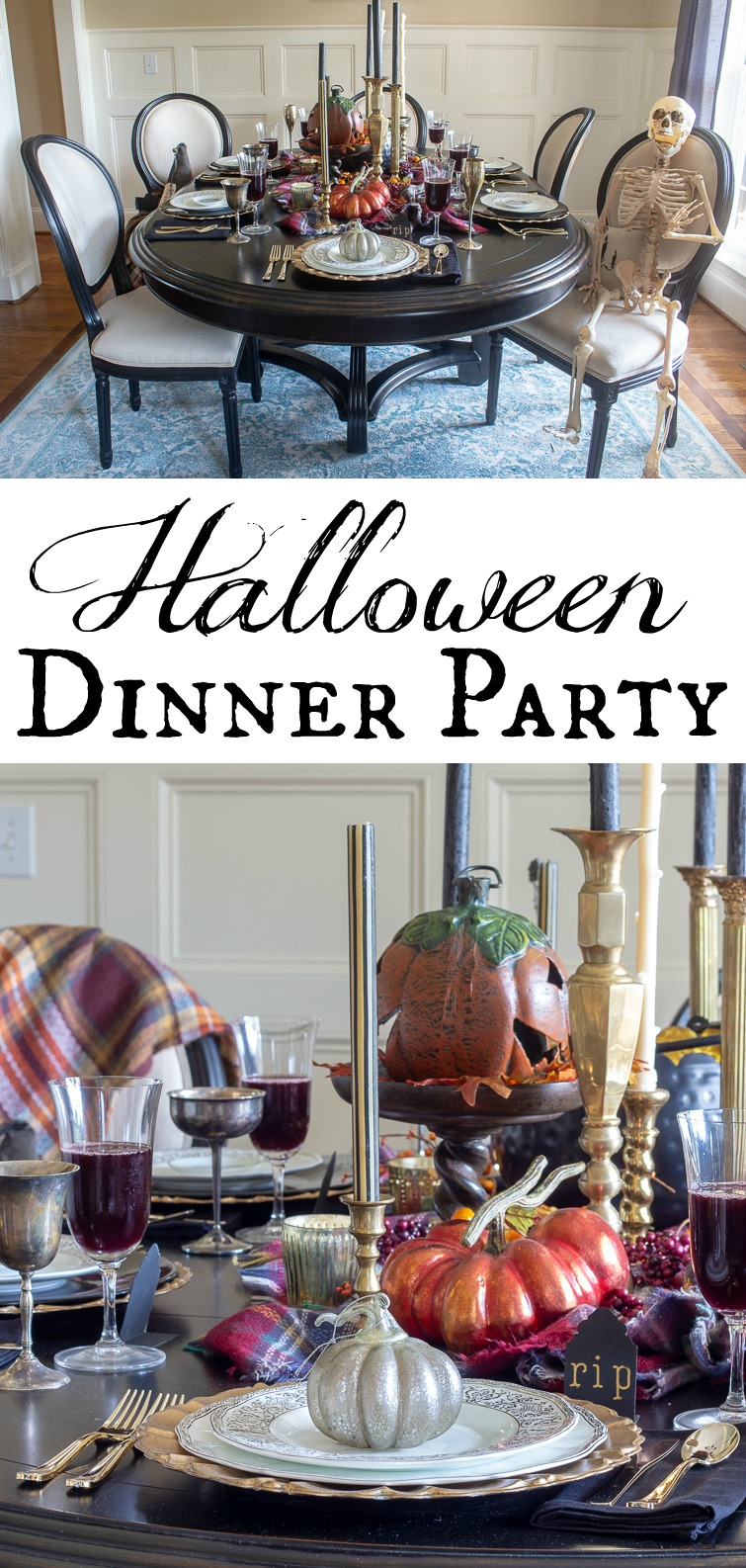 collage photo showing a dining room table set for Halloween with fine china and elegant brass candlesticks