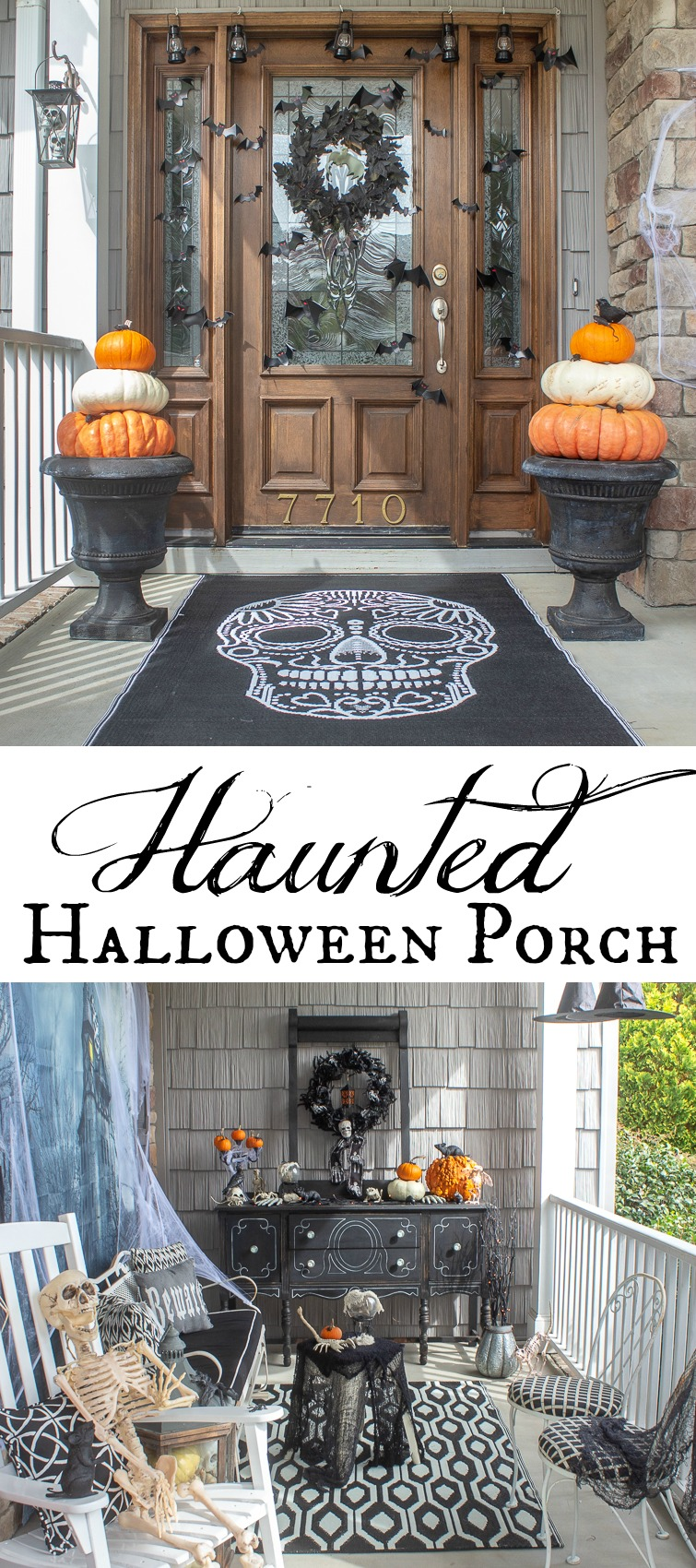 collage photo showing Scary Halloween decorations on a front porch