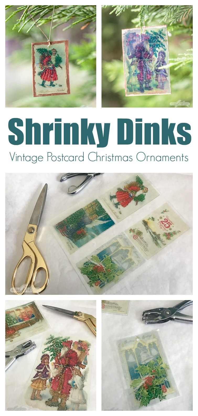 collage photo showing two vintage postcard Christmas ornaments hanging on a tree and images printed on Shrinky Dinks paper