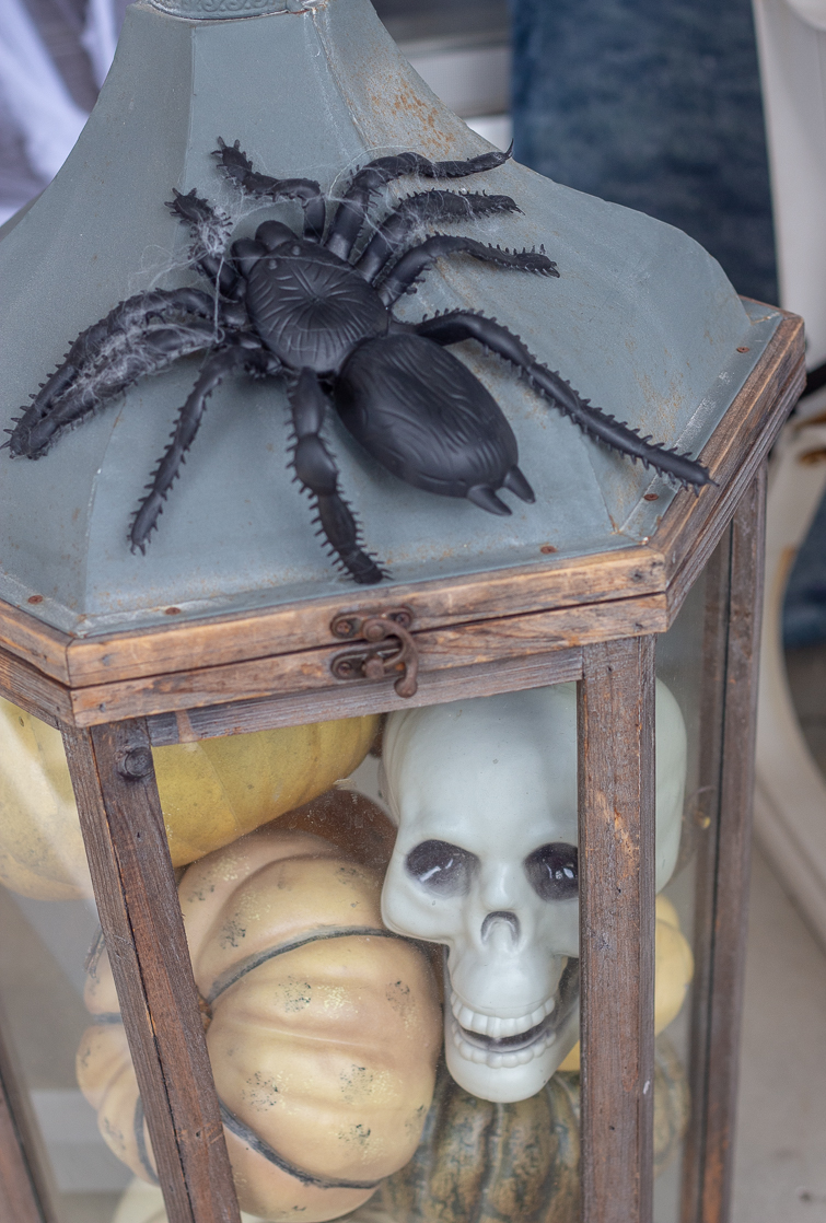 plastic skull and pumpkins in a large wooden glass lantern with an oversized plastic spider on top