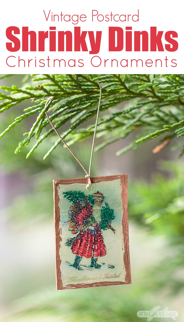 Printable Christmas Ornaments.Shrinky Dinks Christmas Ornaments With Vintage Postcard Images