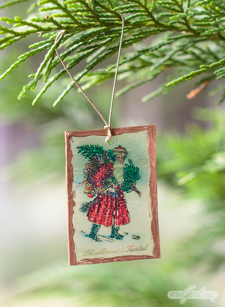 Printable Shrinky Dinks Christmas ornament with A Patrridge in a Pear Tree artwork
