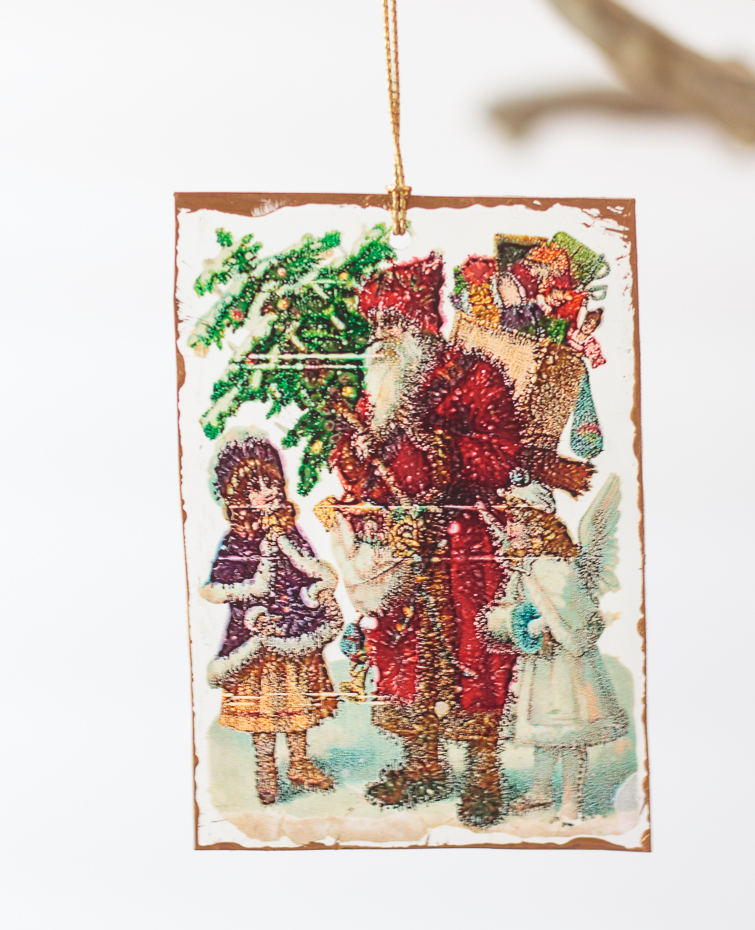 vintage postcard Shrinky Dinks Christmas ornament with an image of a Victorian Santa and two little girls