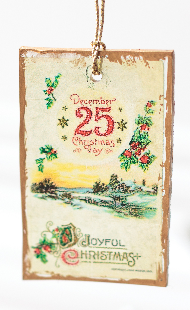 Clear plastic Shrinky Dinks vintage Christmas postcard ornament
