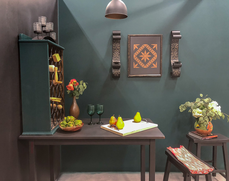Wine bar kitchen area with green and black walls