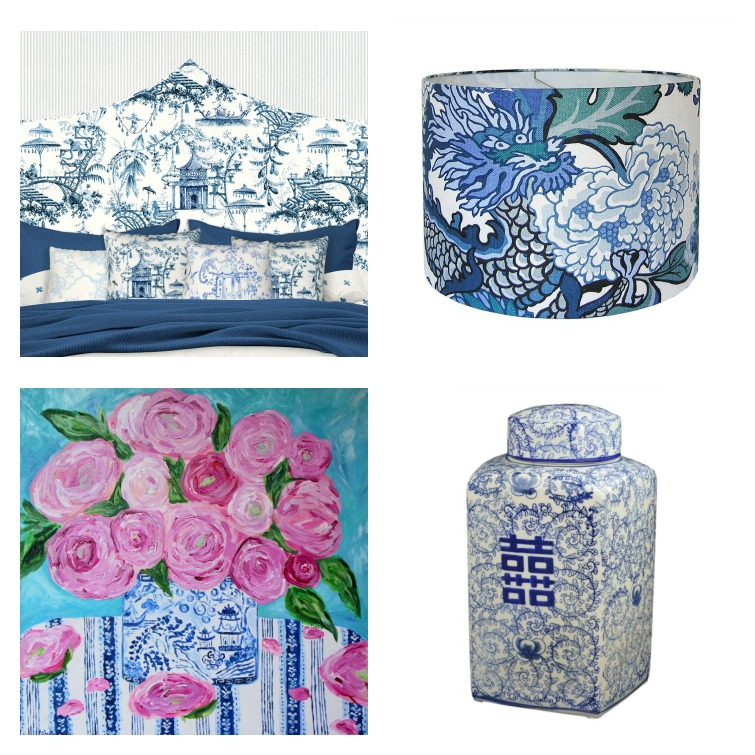 chinoiserie headboard, chiang mai lampshade, ginger jar, ginger jar painting