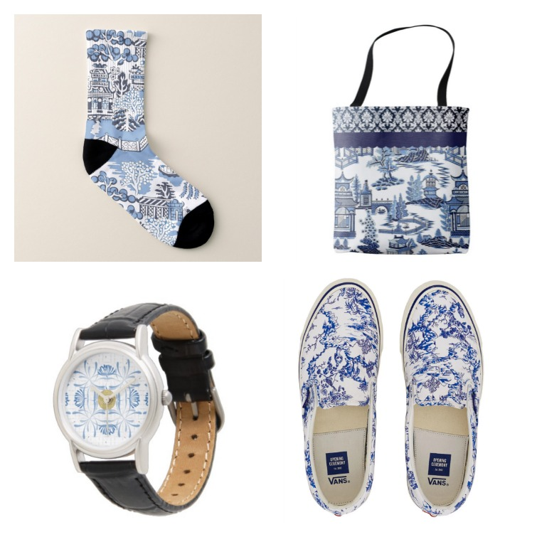 blue and white clothing and accessories