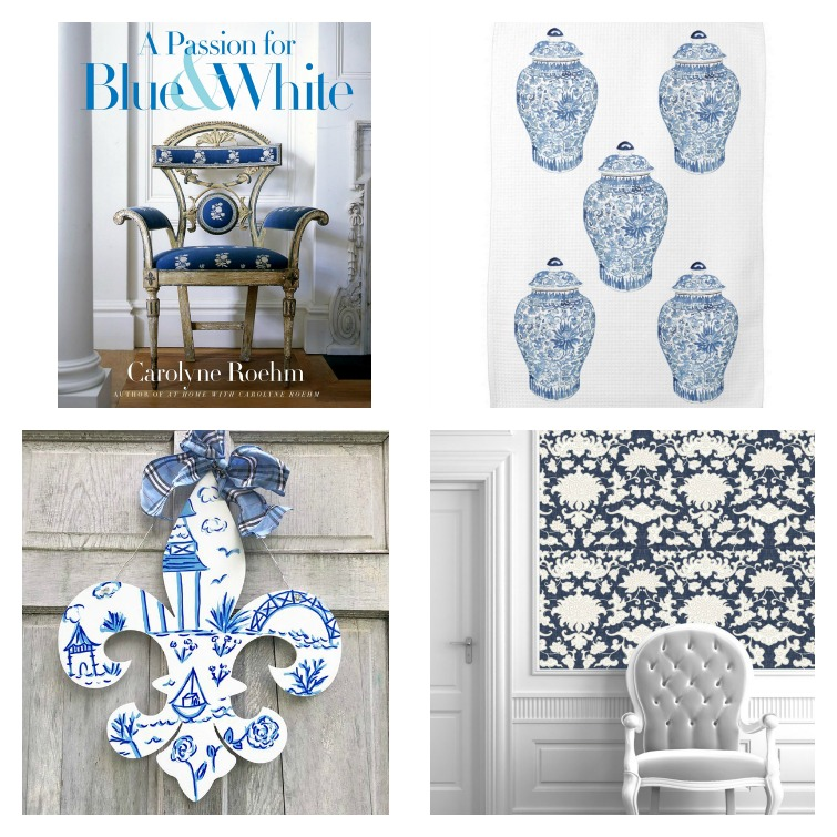 blue and white wallpaper, fleur de lis door hanger, blue and white decorating, tea towel