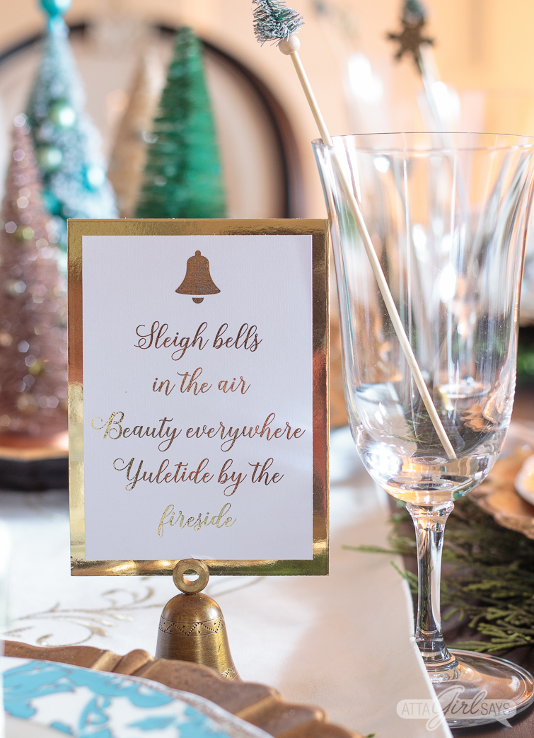 gold Christmas table placecards