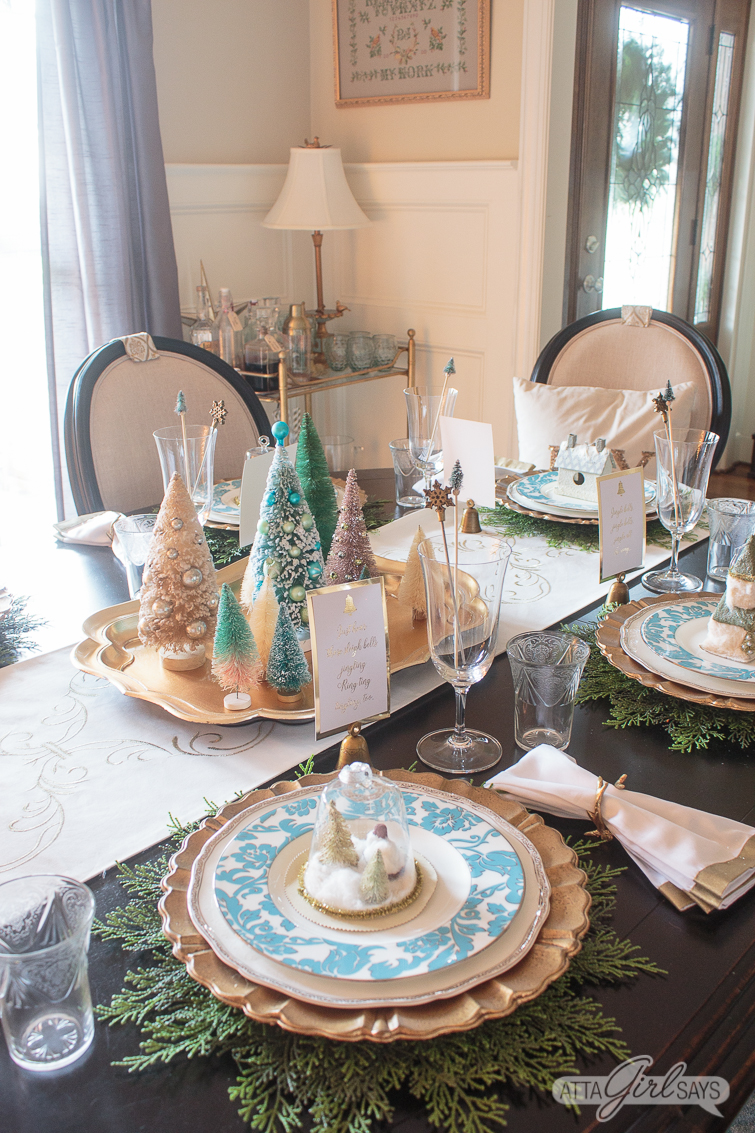 Christmas Table Decorations Elegant Gold Aqua Dining Room