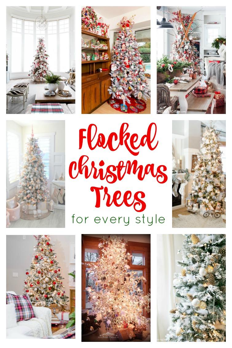 Flocked Christmas Tree Inspiration Decorating Ideas For