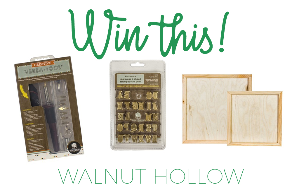 giveaway for a wood burning kit from Walnut Hollow