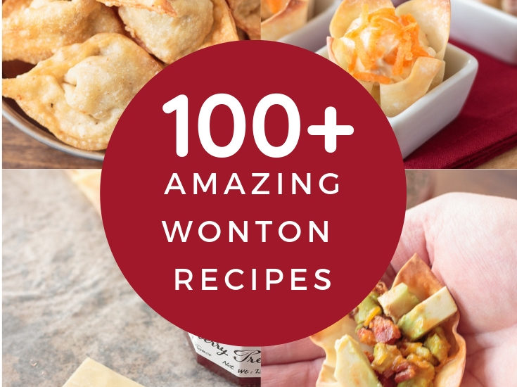 collage with four different wonton wrapper recipes