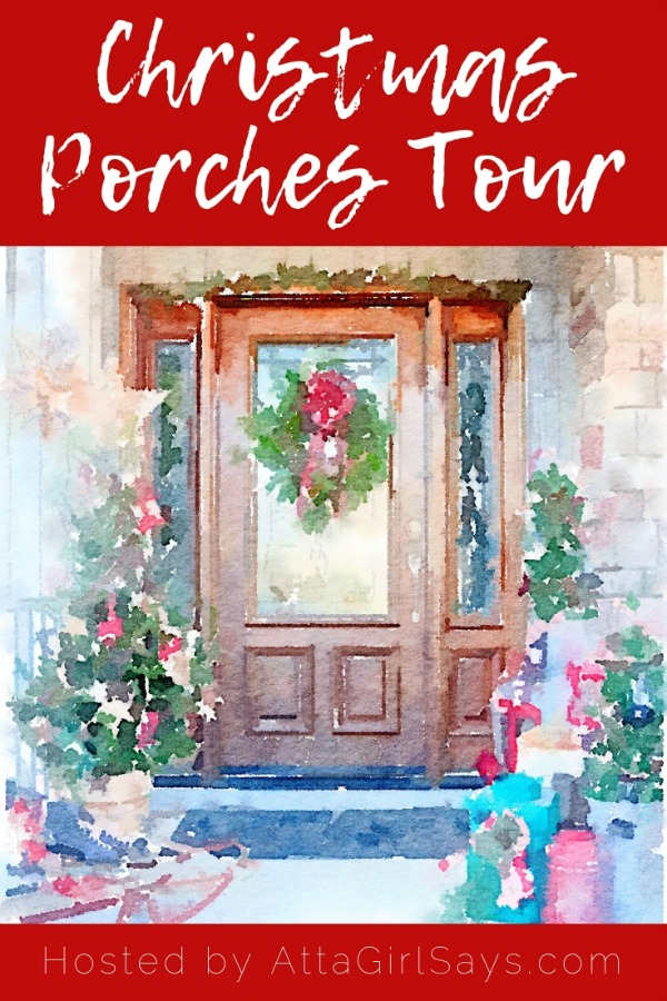 watercolor image of a front door decorated for Christmas