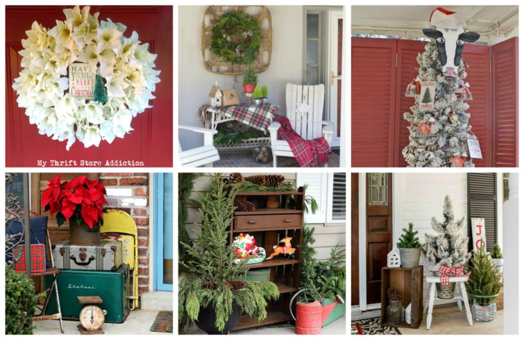 Collage photo featuring four Christmas porches tour.