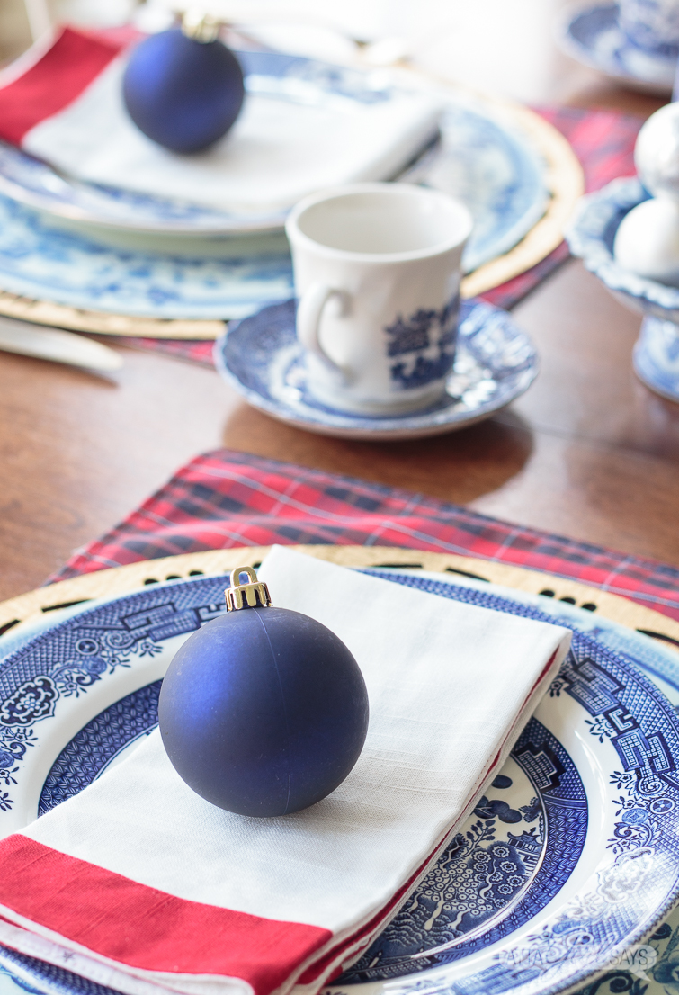 blue willow Christmas place setting
