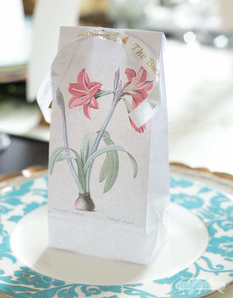 vintage amaryllis botanical print party favor bag on table