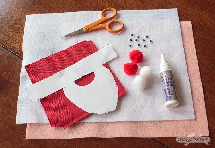 supplies to make felt Santa Claus Christmas napkin rings